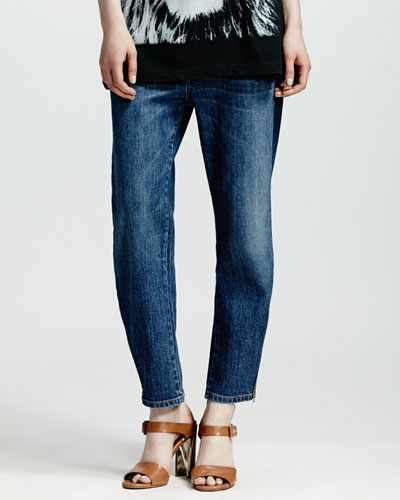 Stella McCartney Zip-Ankle Boyfriend Jeans, Dark Blue