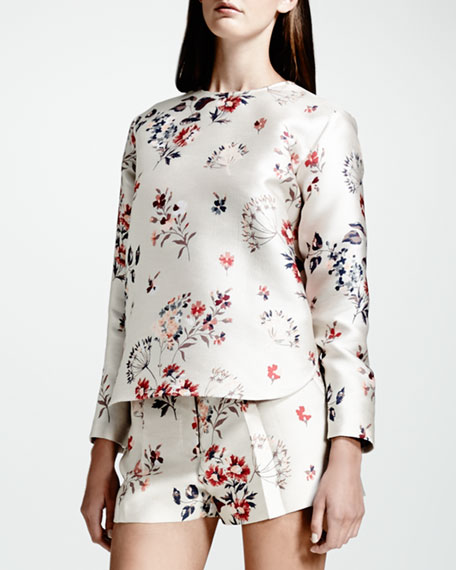 Wildflower Jacquard Top, White/Multi