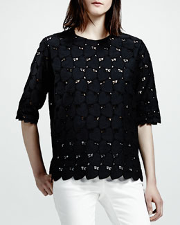Stella McCartney Heart-Cutwork Tee, Black