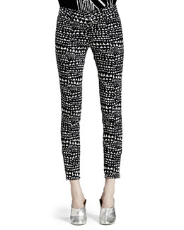 Stella McCartney Heart-Print Jeans, Black/White