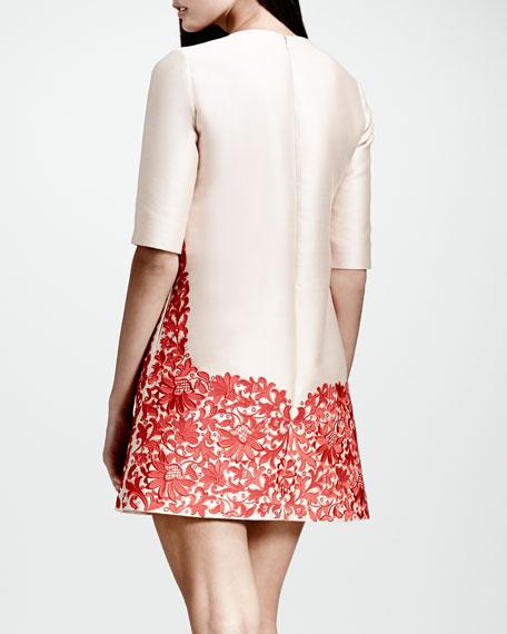 Lace-Hem Shift Dress, Rose/Red