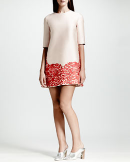 Stella McCartney Lace-Hem Shift Dress, Rose/Red
