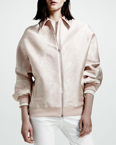Stella McCartney Paisley Jacquard Bomber Jacket, Rose
