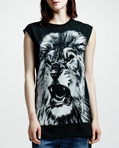Lion-Print Sleeveless Tee, Black
