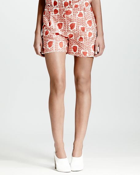 Heart & Lip-Print Pleated Shorts, Medium Pink