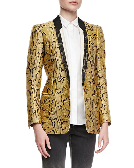 One-Button Snake-Print Blazer, Chamomile
