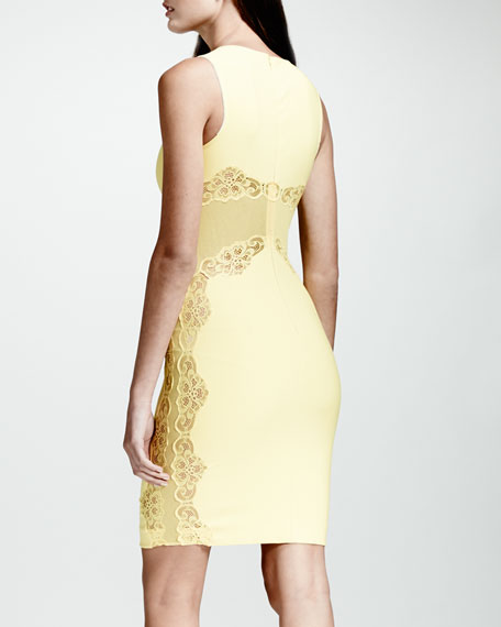 Lace-Inset Sheath Dress, Citron