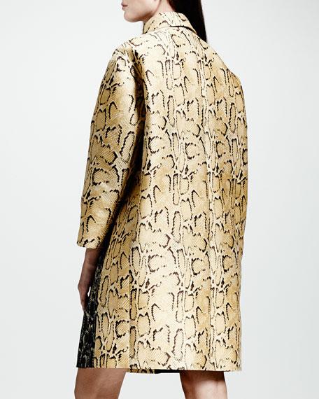 Two-Tone Python Jacquard Coat
