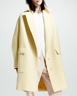Stella McCartney Exaggerated-Lapel Two-Button Coat, Chamomile