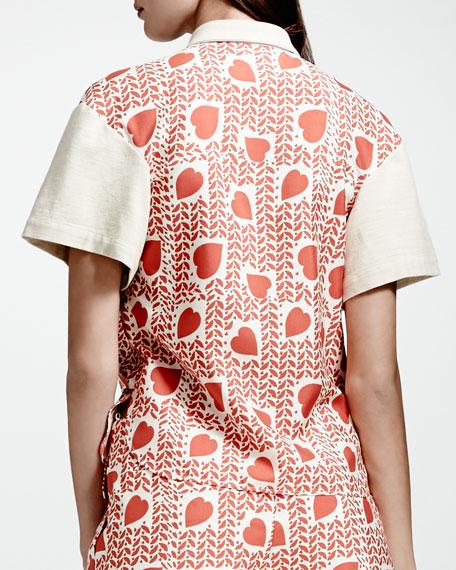 Heart & Lip-Print Blouse, Medium Pink