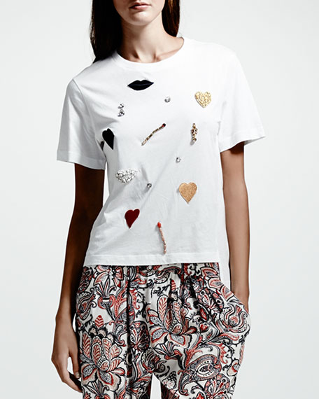 Applique-Embellished Tee, White