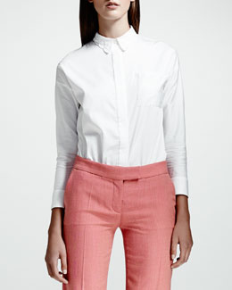 Stella McCartney Heart-Collar Cotton Poplin Blouse, White