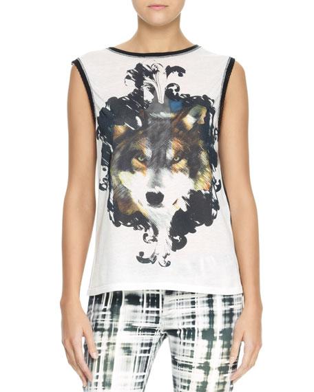 Wolf-Print Mesh-Back Tank Top, White/Multi