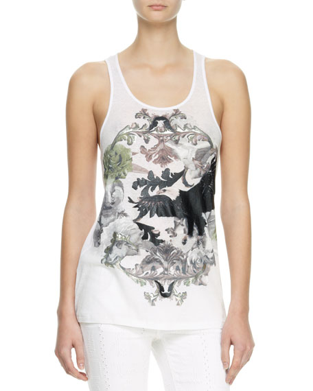 Eagle Printed Tank Top, White