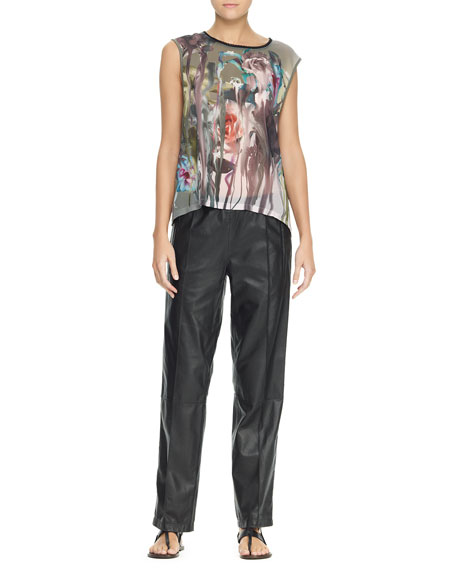 Leather Track Trousers, Black