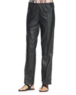 Faith Connexion Leather Track Trousers, Black