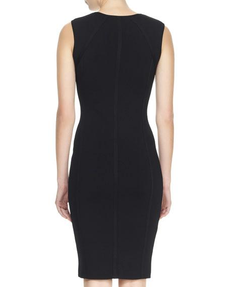 Sleeveless Plunging Sheath Dress, Black
