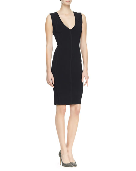 Sleeveless Plunging Sheath Dress, Black