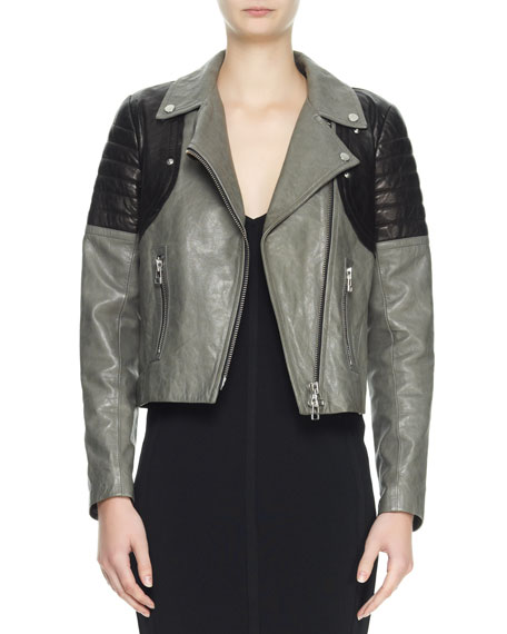 Two-Tone Leather Moto Jacket, Gray/Black
