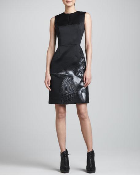 Sea Creature-Print Satin Dress, Black