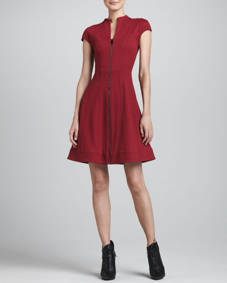 Cap-Sleeve Zip-Front Dress, Cherry