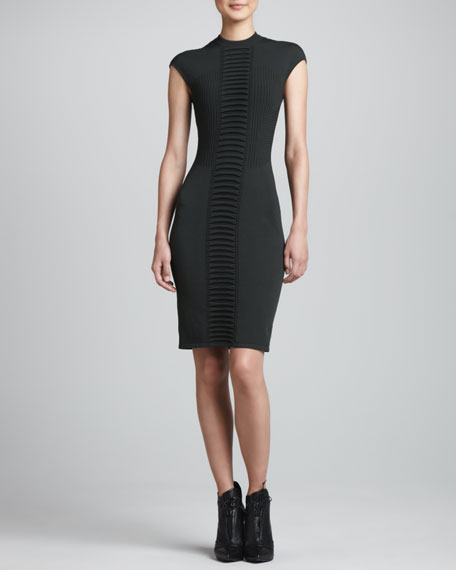Ruched-Center Sheath Dress, Forest Green