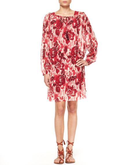 Printed Drop-Waist Tulle Dress