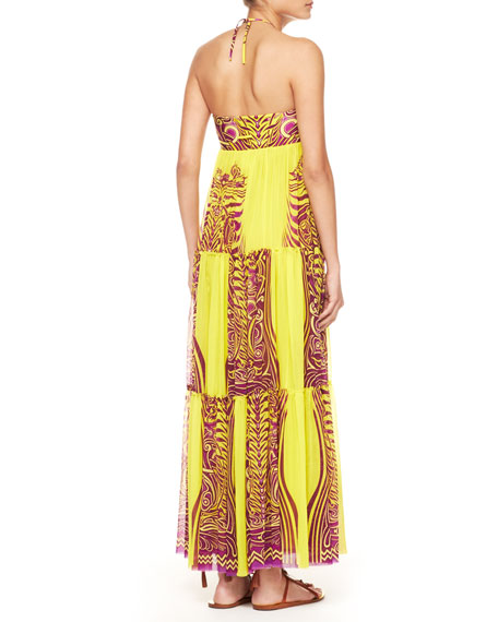 Tiered Tattoo Halter Maxi Dress