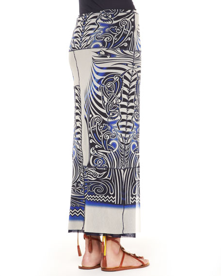 Slim Tattoo Patchwork Maxi Skirt