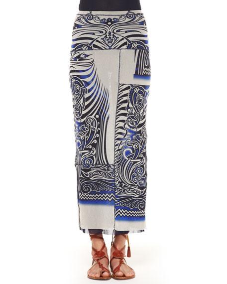 Slim Tattoo Patchwork Maxi Skirt