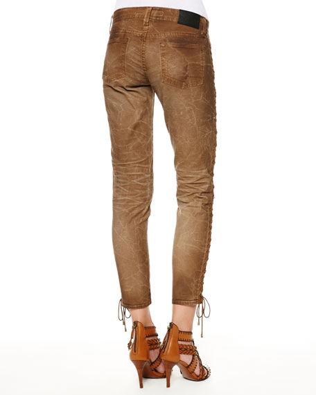 400N Distressed Lace-Up Jeans