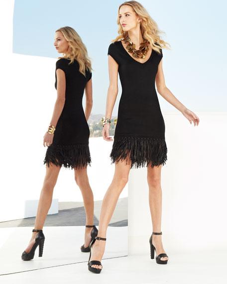 Leather-Fringe Knit Dress