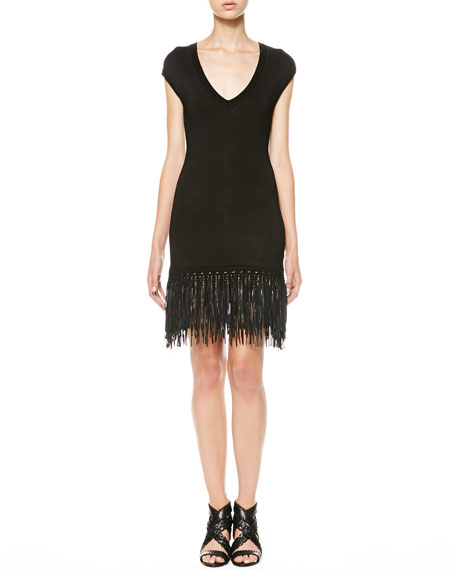 Leather-Fringe Knit Dress