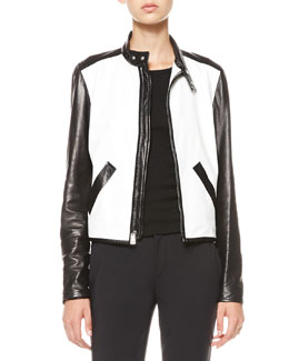 Ralph Lauren Bismarck Two-Tone Leather Jacket
