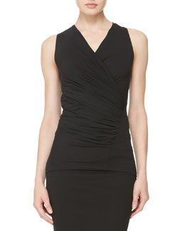 Donna Karan Sleeveless V-Neck Drape Top