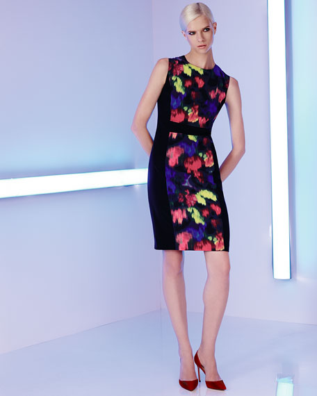 Stretch-Side Floral-Print Dress, Caviar/Multi