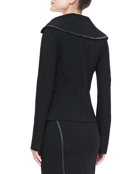 Leather-Trim Offset Jacket