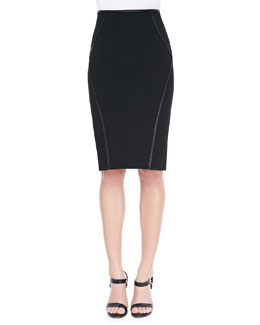 Donna Karan Leather-Trim Pencil Skirt