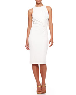 Donna Karan Sleeveless Draped-Waist Sheath Dress