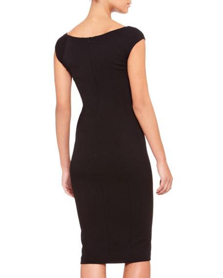 Cap-Sleeve Drape-Front Dress