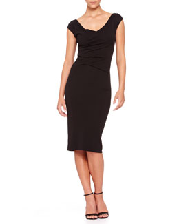 Donna Karan Cap-Sleeve Drape-Front Dress