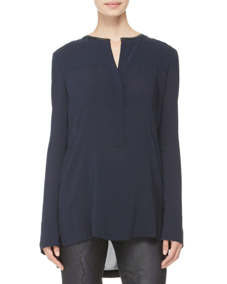 Leather-Trim Popover Blouse