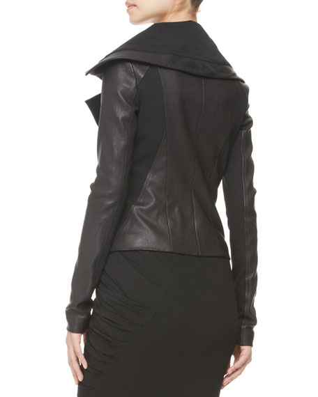 Jersey-Panel Stretch Leather Jacket