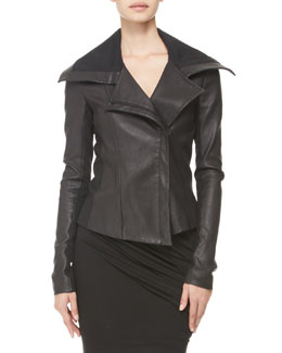 Donna Karan Jersey-Panel Stretch Leather Jacket