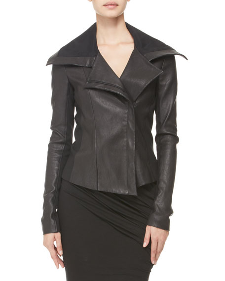 Jersey-Panel Stretch Leather Jacket