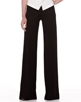 Donna Karan Wide-Leg Jersey Trousers