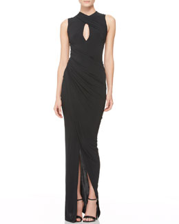 Donna Karan Draped Keyhole Evening Dress
