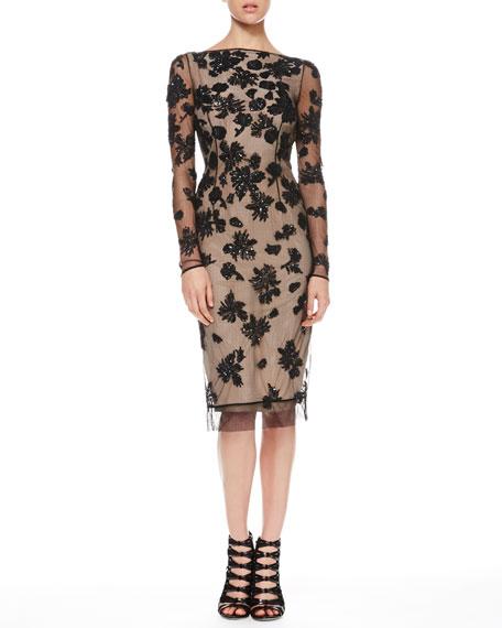 V-Back Sequined Tulle Dress