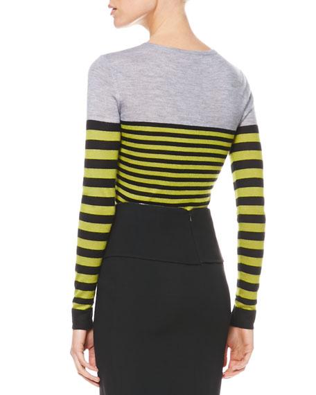 Multicolor Striped Knit Pullover