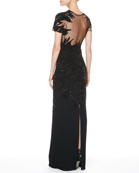 Sequined Combo Botanical Gown